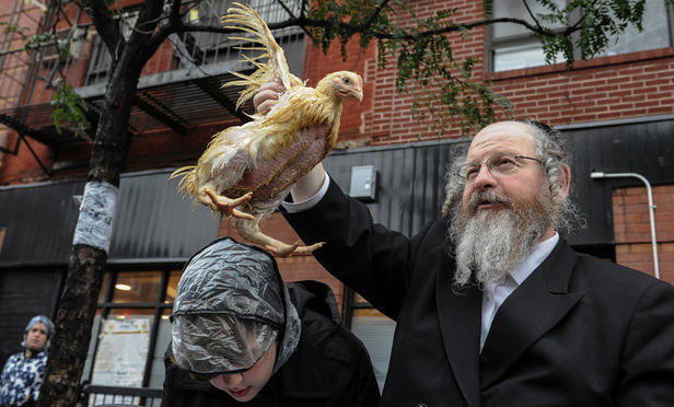 Brooklyn residents participate in the Jewish religious holiday of Kaporos in October 2016.
