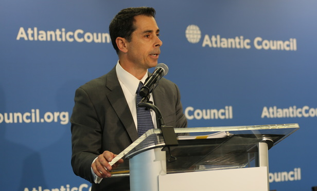 U.S. acting assistant attorney general Kenneth Blanco speaks at the Atlantic Council Inter-American Dialogue event on July 19 in Washington D.C.