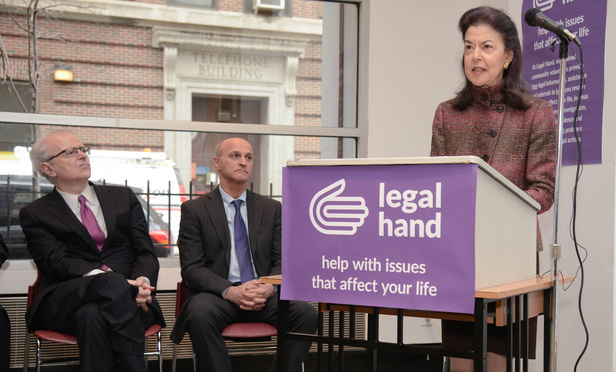 "Helaine Barnett helped inaugurate the new ""Legal Hand"" Center in Jamaica, Queens on Friday December 18, 2015. At left is Chief Judge Jonathan Lippman and Administrative Judge Lawrence Marks."