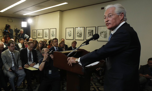 Marc Kasowitz addresses the media on June 8 following the congressional testimony of former FBI Director James Comey