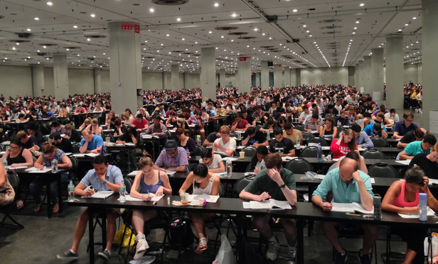Students taking a simulated multi-state bar examination in 2014 at the Jacob J. Javits Convention Center in New York City.