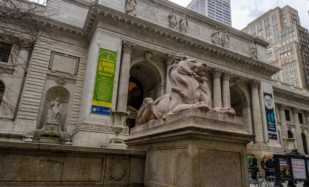 New York Public Library's main branch at Fifth Avenue and 42nd Street