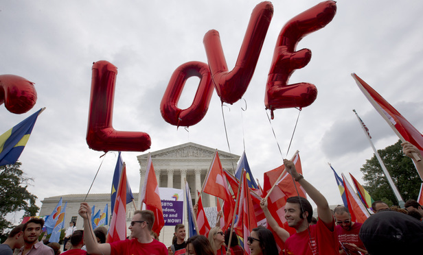 Balloons spell out the word love over the Supreme Court on June 26, 2015, after the court declared in 'Obergefell v. Hodges' that same-sex couples have a right to marry anywhere in the US.