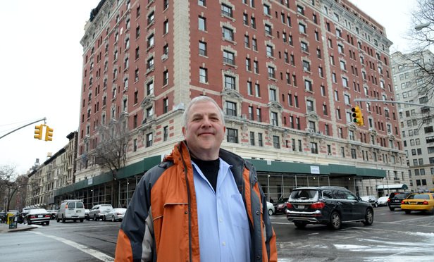 James Pastreich in front of his apartment building at 1 West 85th St.