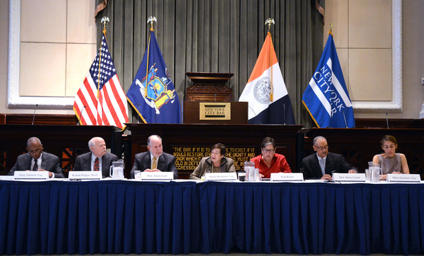 The New York State Commission on Legislative, Judicial and Executive Compensation met on Monday at the New York City Bar Association. Left to right: Gary Johnson, Roman Hedges, James Lack, Sheila Birnbaum, Fran Reiter, Barry Cozier and Mitra Hormozi.