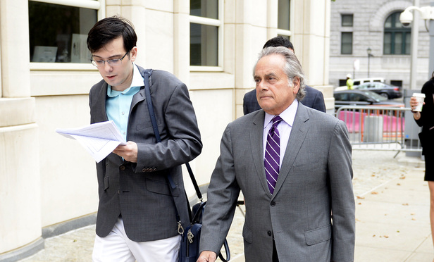 Martin Shkreli and his attorney Benjamin Brafman outside Brooklyn federal court on Thursday
