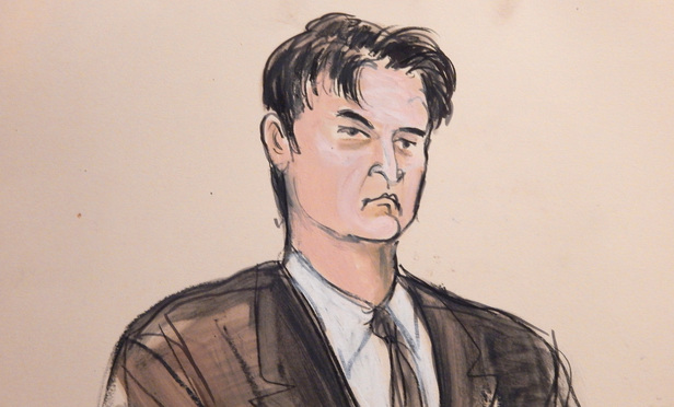 Courtroom sketch of Ross Ulbricht in a Southern District courtroom in February