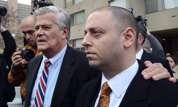Dean Skelos and Adam Skelos leave federal court after their guilty verdicts in 2015.