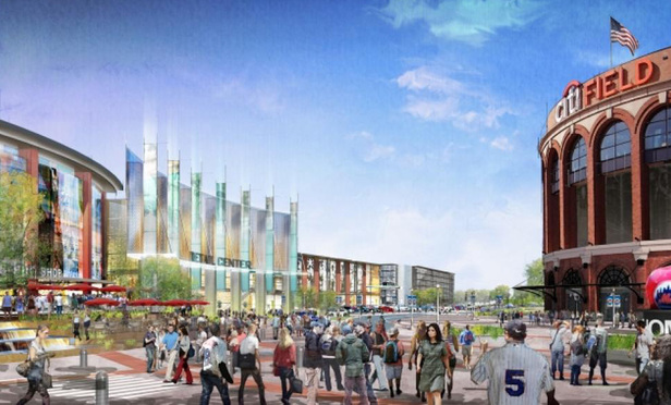 An architect's rendering of the proposed shopping center at the Willets Point West development.