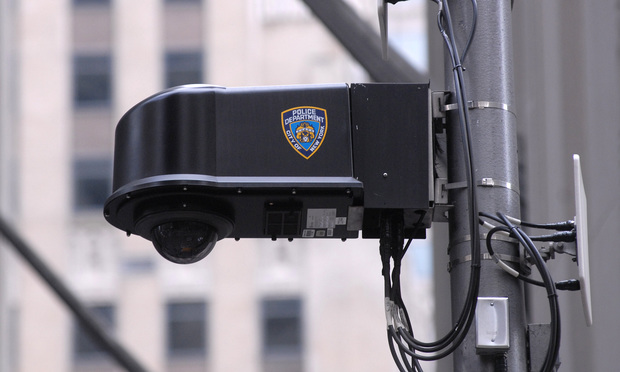 NYPD surveillance camera at Wall Street and Broadway in Manhattan