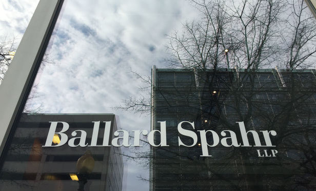 Ballard Spahr offices in Washington, D.C. March 24, 2015. Photo by Diego M. Radzinschi/THE NATIONAL LAW JOURNAL.