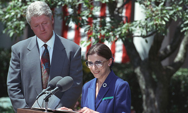 Ruth Bader Ginsburg accepting her nomination to the U.S. Supreme Court. June 14, 1993.