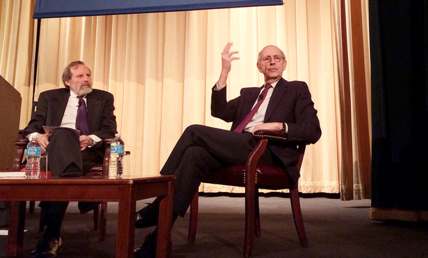 Justice Stephen Breyer, right, with professor Alan Morrison of George Washington Law school, left, speaking during the AALS Annual Meeting in New York City on Thursday, January 7, 2016.