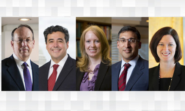 (l-r) Paul Clement, Noel Francisco, Erin Murphy, Neal Katyal, and Jessica Amunson.