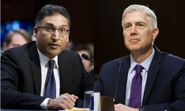 Neal Katyal, left, and Neil Gorsuch, right.