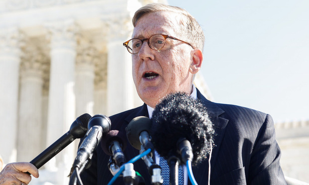 Caption: Attorney Paul Smith, of the Campaign Legal Center, speaks to the media outside the U.S. Supreme Court after arguments in Gill v. Whitford, on Tuesday, October 3, 2017.