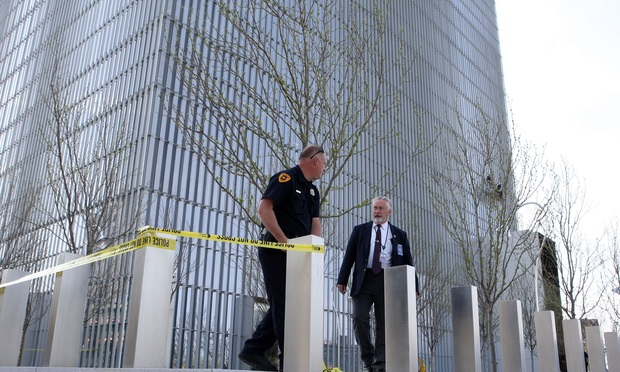 The scene outside the federal courthouse in Salt Lake City, Utah, after the shooting.