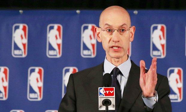 NBA Commissioner Adam Silver holds a press conference to discuss Los Angeles Clippers owner Donald Sterling at the Hilton Hotel on April 29, 2014 in New York City.