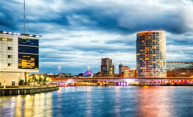 Belfast at Night over the River Lagan, Belfast City, Northern Ireland, United Kingdom (UK).