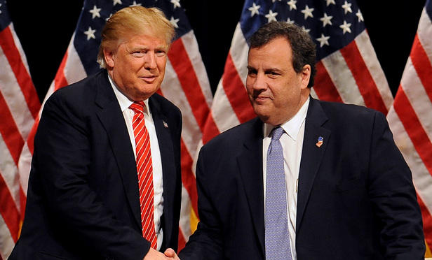GOP presidential candidate Donald Trump, left, and New Jersey governor Chris Christie