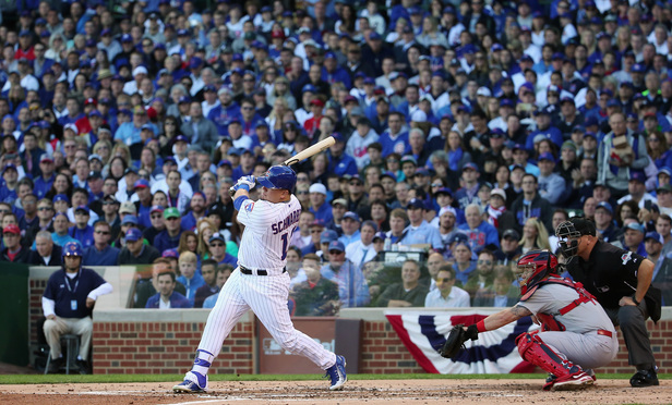 The Chicago Cubs' Kyle Schwarber at bat against the St. Louis Cardinals on October 13, 2015 at Wrigley Field.