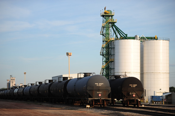 Oil train tank cars are pictured at the Dakota Plains Pioneer Terminal in New Town, N.D., on June 8, 2016.