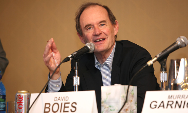 David Boies, Chairman of the law firm Boies, Schiller and Flexner LLP, speaks during the ABA Conference panel discussion on Value Billing for the Legal Profession at the Marriot Marquis in Atlanta. Photo: Alison Church/Freelance. 2-11-2011.