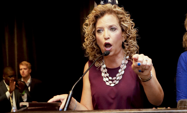 Debbie Wasserman Schultz, D-Fla., speaks during a Florida delegation breakfast, Monday, July 25, 2016, in Philadelphia, during the first day of the DNC. (AP Photo/Matt Slocum)