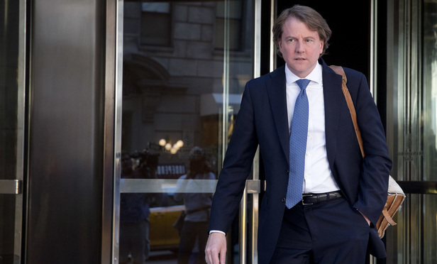 Attorney Donald McGahn leaves the Four Seasons hotel in New York, Thursday, June 9, 2016, after a GOP fundraiser.