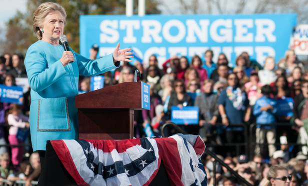 Hillary Clinton speaks at Saint Anselm College in Manchester, New Hampshire, on Oct. 24, 2016.