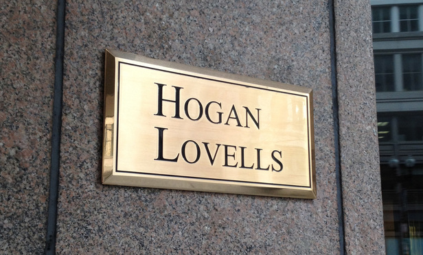 Hogan Lovells sign outside the Columbia Square building where their D.C. offices are located. January 19, 2012. Photo by Diego M. Radzinschi/THE NATIONAL LAW JOURNAL.