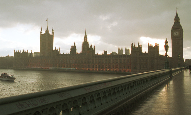 In London, the houses of Parliament on the river Thames