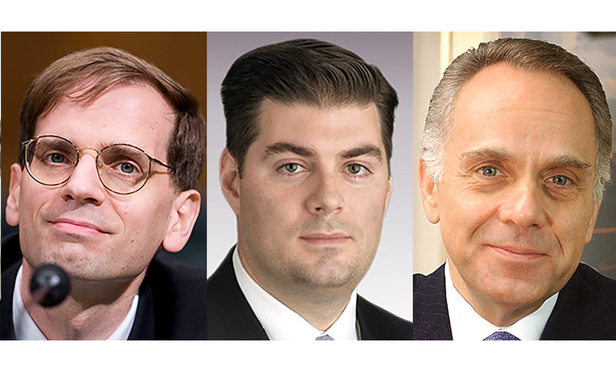 Left to right: Gregory Katsas of Jones Day; Hunton & Williams' David Higbee; and Ralph Ferrara of Proskauer Rose.