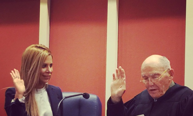 Shauneen Militello is sworn in by Judge Harry Pregerson, who in December took senior status on the U.S. Court of Appeals for the Ninth Circuit. ()
