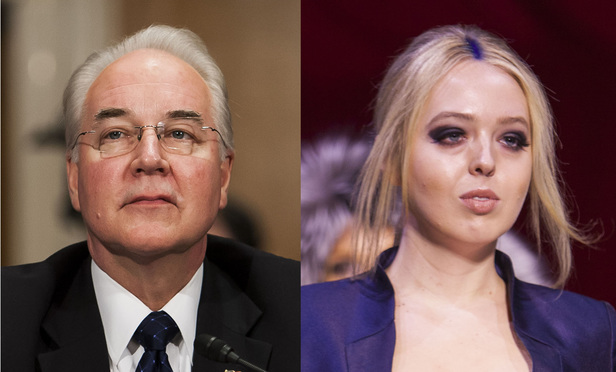 Tom Price, left, and Tiffany Trump, right.