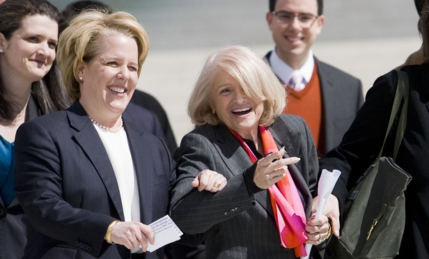 Roberta Kaplan, left, with client Edith Windsor outside the U.S. Supreme Court after arguments related to the Defense of Marriage Act. March 27, 2013.