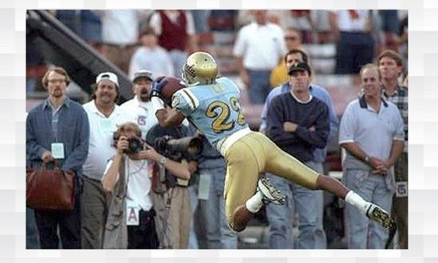The famous catch by former UCLA football player Rodney Lee.