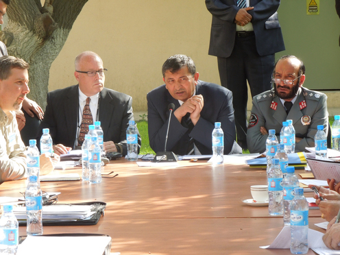 Scott MacGriff with Deputy Minister of the Interior Yarmand (seated next to Mr. MacGriff) chairing a conference on Police Policy for Aghans and international colleagues