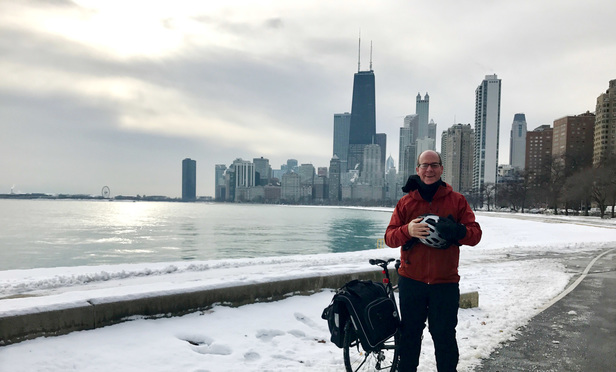 Jenner & Block managing partner Terry Truax takes a rest during his daily commute near the shore of Lake Michigan. Dec. 13, 2016.