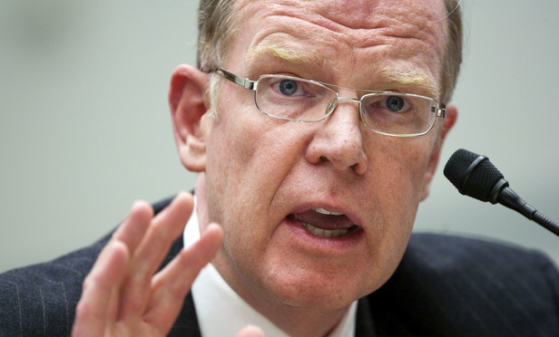 Thomas C. Baxter, executive vice president and general counsel, of the Federal Reserve Bank of New York, testifies at a House Oversight and Government Reform Committee hearing on the 2008 government bailout of insurer American International Group Inc. in Washington, D.C., on Jan. 27, 2010.