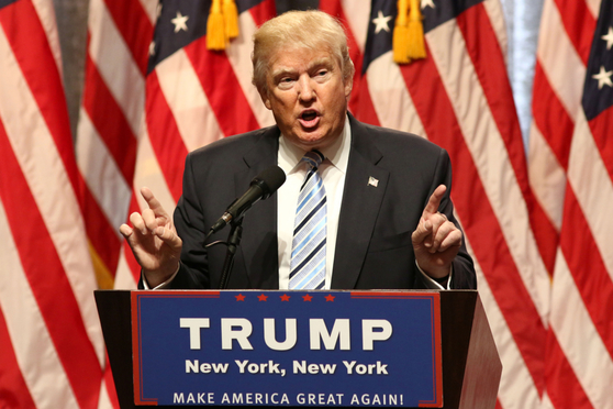 Donald Trump speaks during a press conference in New York.
