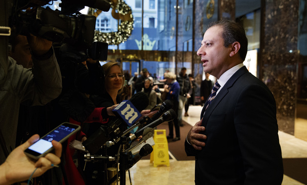 Southern District U.S. Attorney Preet Bharara at Trump Tower Wednesday