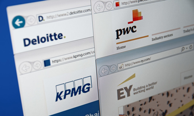 JANUARY 03, 2016: A computer screen shows details of Big Four auditors main pages on its web sites. Deloitte, EY, KPMG and PricewaterhouseCoopers