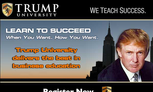 An advertisement for Trump University.