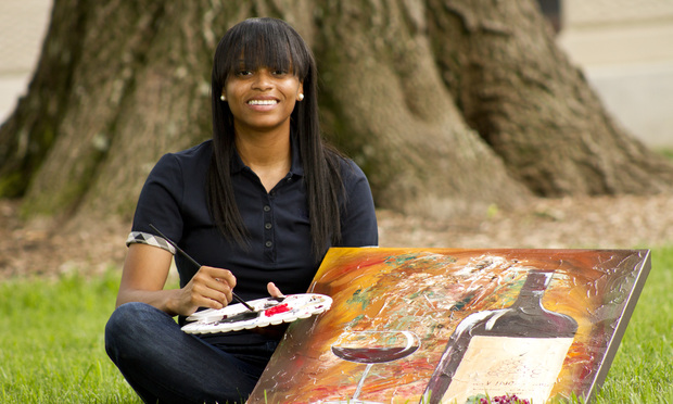 "Tannyka Bent says that when she paints she likes working with a big canvas because ""you have a lot of room to express yourself."""