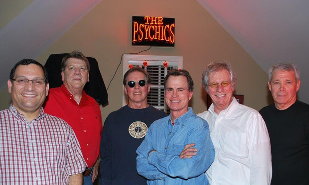 The Psychics. L-R Barry Wolfert (Bass Guitar & Bacground Vocals), Dave Helms (Rhythm Guitar & Lead/Background Vocals), Skip Sloan (Lead Vocals), Tom Ashenden (Drums), Michael Corcoran (Lead Guitar), Jim McGuone (Rhythm Guitar). Handout Photo 4-28-2014