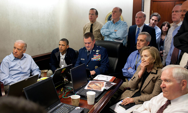 Thomas Donilon was a key advisor to the president on national security and foreign policy. Donilon, center and in light blue, stands with arms crossed watching the raid on Osama bin Laden's compound in May 2011.