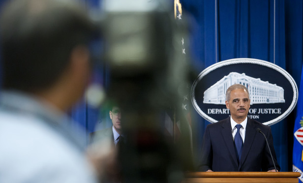 U.S. Attorney General Eric Holder Jr. during a press conference at the Department of Justice. September 30, 2013.