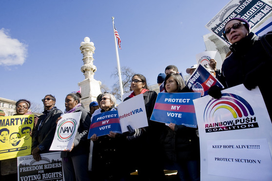 Rally on the steps of the U.S. Supreme Court, on the day of oral arguments in Shelby County v. Holder