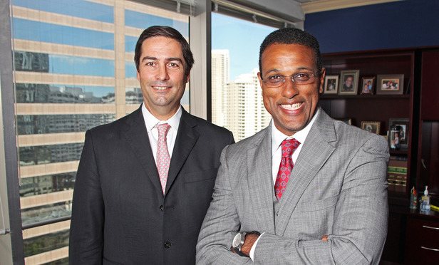 04/01/14-- Miami-- Ramon A. Abadin with Sedgwick, and Robert Harris, The Harris Law Firm Group, PA.